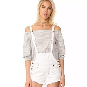 Free People Strappy Distressed Denim Overall Short